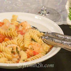 White Wine Lemon Herb Shrimp Rotini