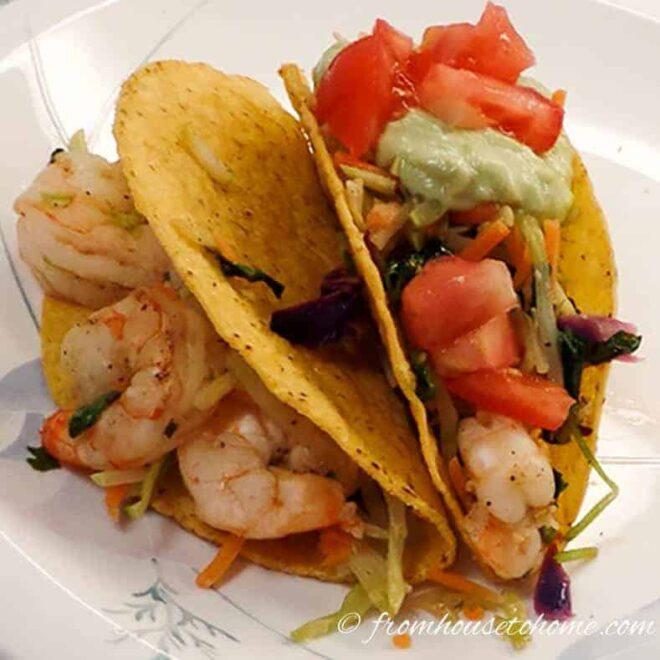 Fill taco shells with shrimp mixture