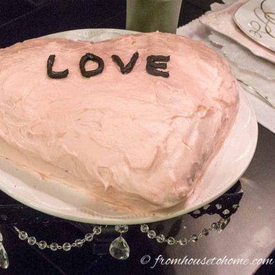 Heart shaped valentine cake
