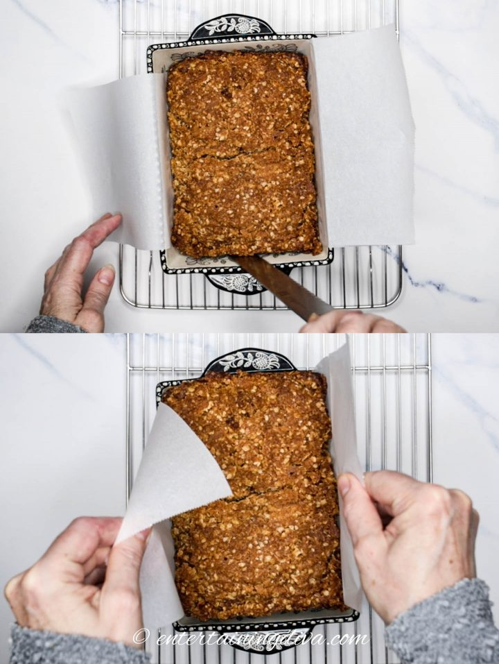 Banana nut bread being removed from the pan