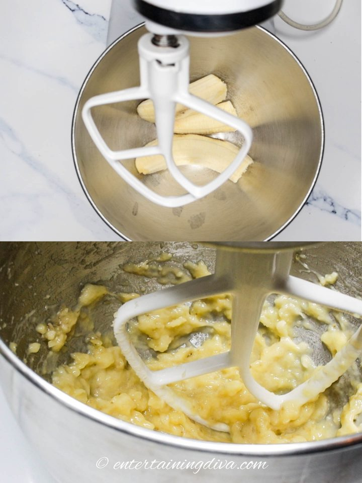 Bananas being mashed in the mixer