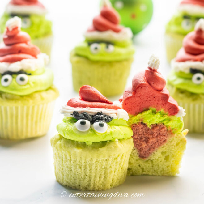 grinch cupcakes with a heart inside