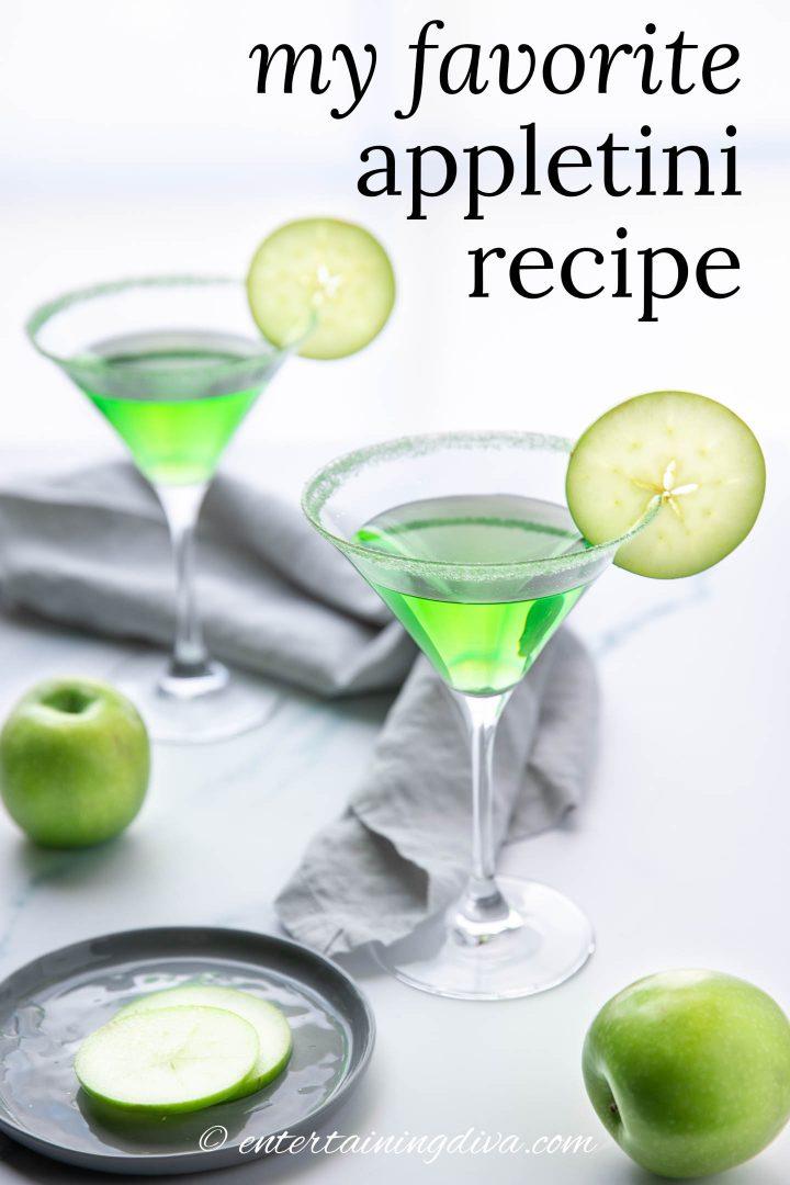 my favorite appletini recipe with apple slice garnish on the rim of the glasses