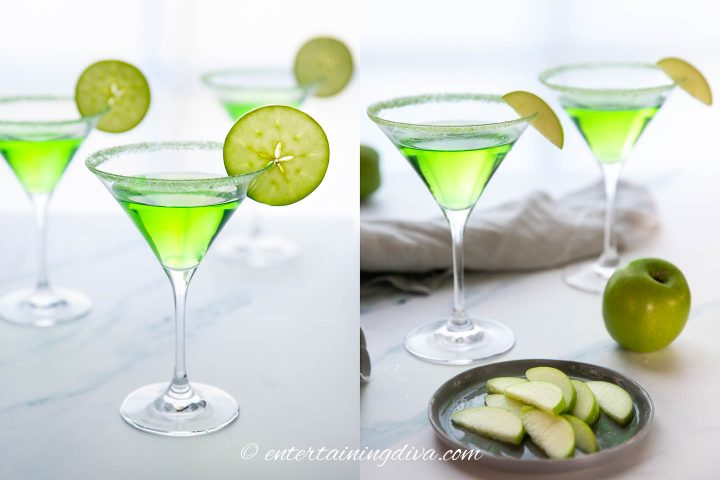 appletinis garnished with granny smith apple slices and wedges on the rim of the glass