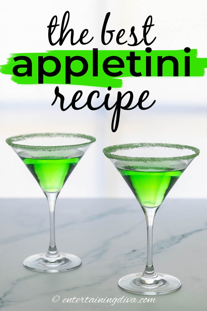 the best appletini recipe with green sugar around the rim of the glasses