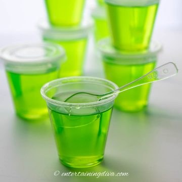 Close up of appletini jello shots with spoon
