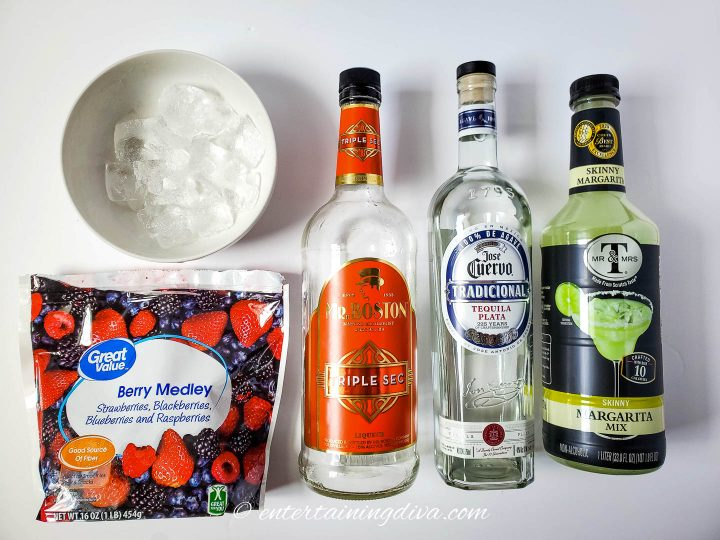 mixed berry frozen margaritas ingredients