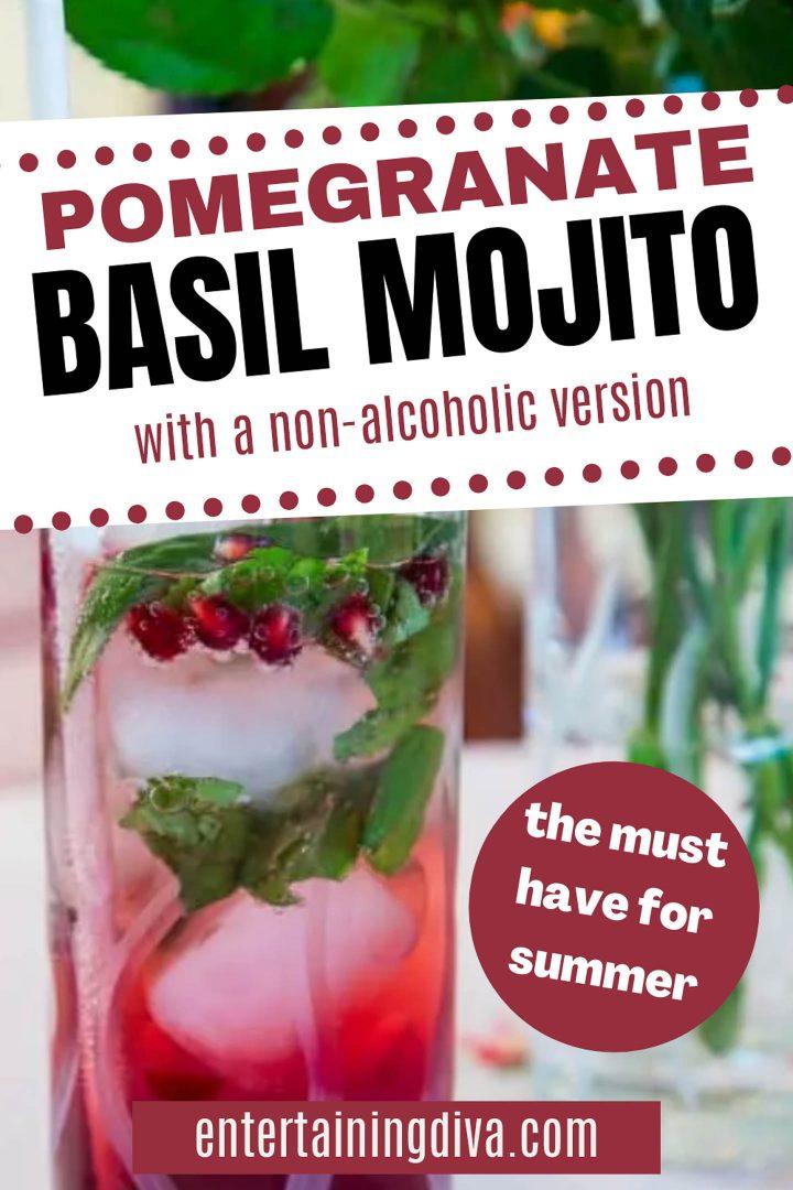 pomegranate basil mojito with a non alcoholic version