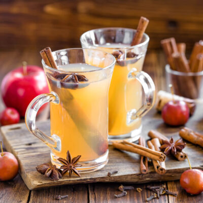 spiced apple cider in glasses with cinnamon sticks and star anise garnish