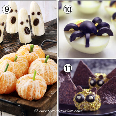 Halloween appetizers - banana ghosts, clementine pumpkins, spider deviled eggs and bat cheese balls