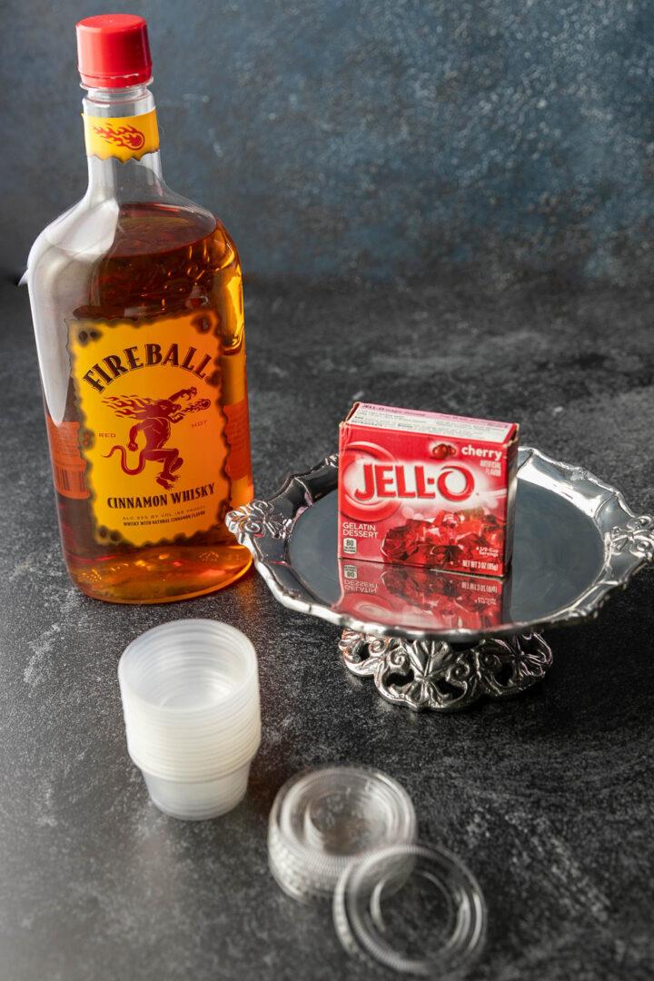 cherry fireball jello shots ingredients and jello shot cups