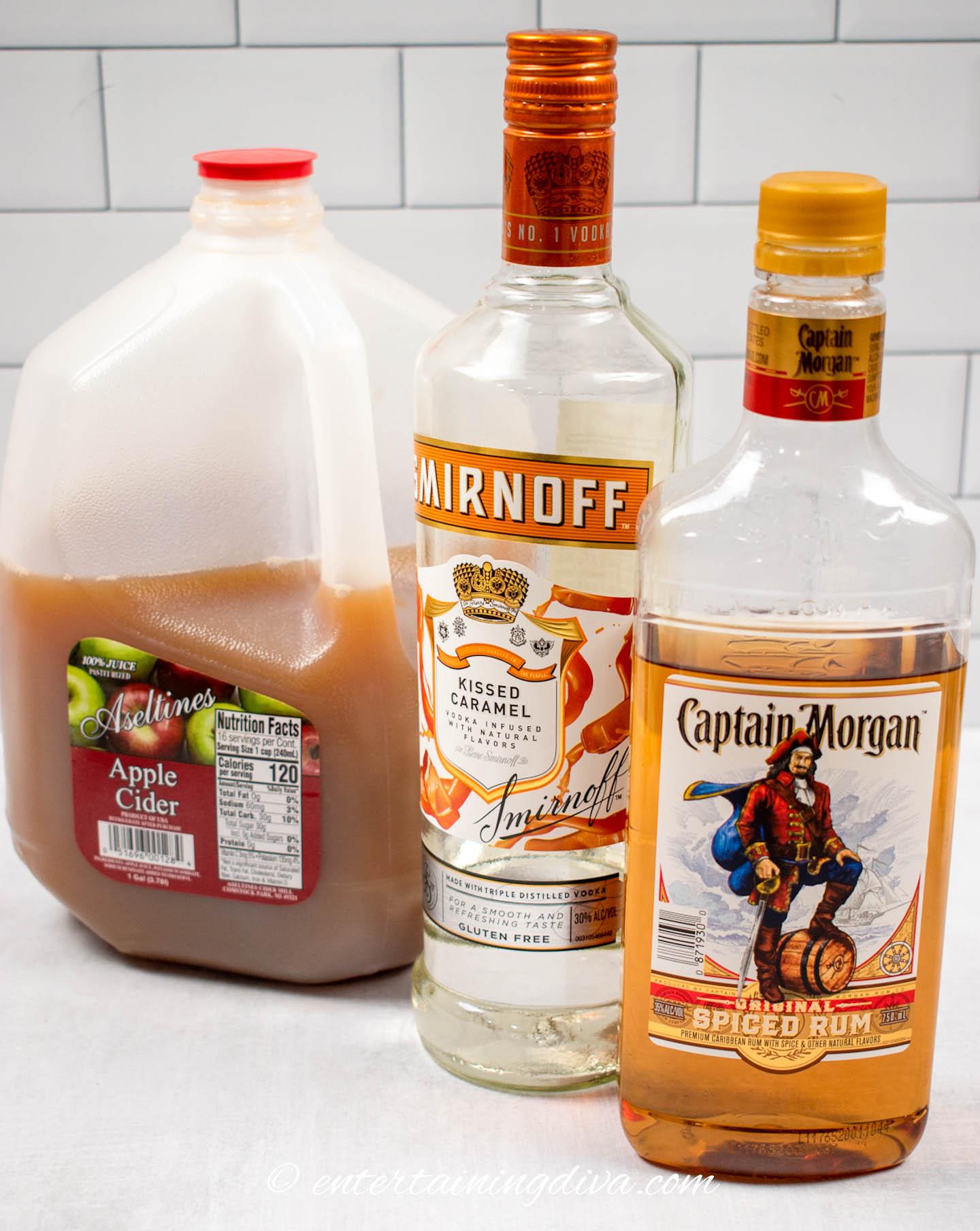 spiked caramel apple cider ingredients: apple cider, caramel vodka and spiced rum