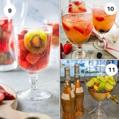 Strawberry kiwi sangria, triple berry rose sangria and berries and lime sangria recipes