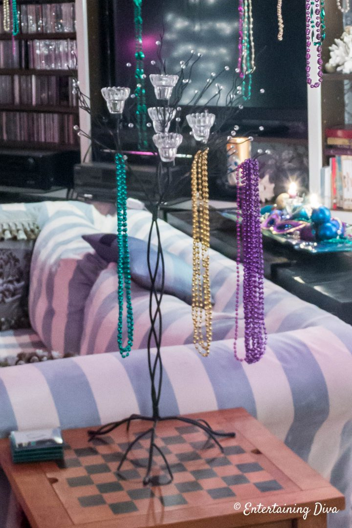 Beads as Mardi Gras party favors