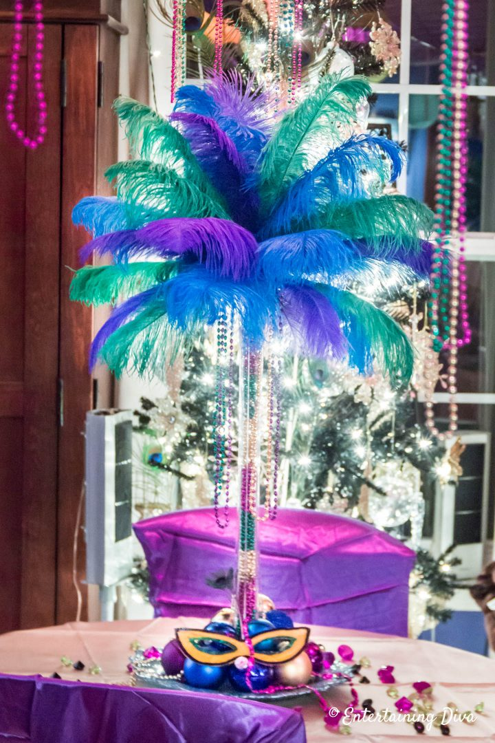 Mardi Gras ostrich feather centerpiece