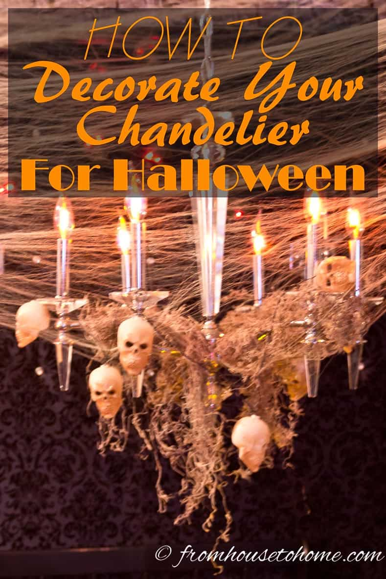 How to decorate your chandelier for Halloween   www.entertainingdiva.com