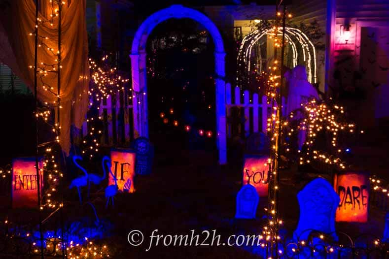 """Halloween """"Enter If You Dare"""" Luminaries in a front yard decorated for Halloween"""