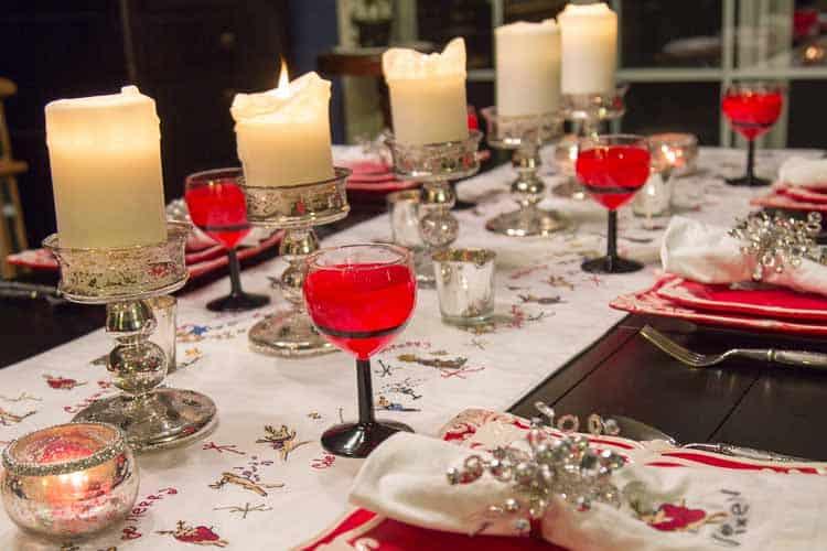 Santa glasses on the table | DIY Santa Wine Glasses