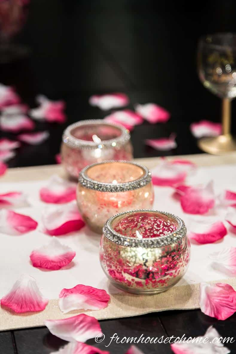 Candles and rose petals   How to create a romantic Valentine's Day table setting