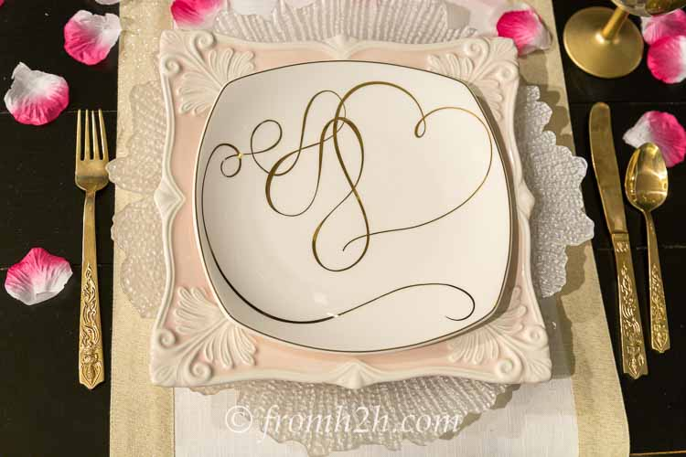Pink and white place setting   How to create a romantic Valentine's Day table setting