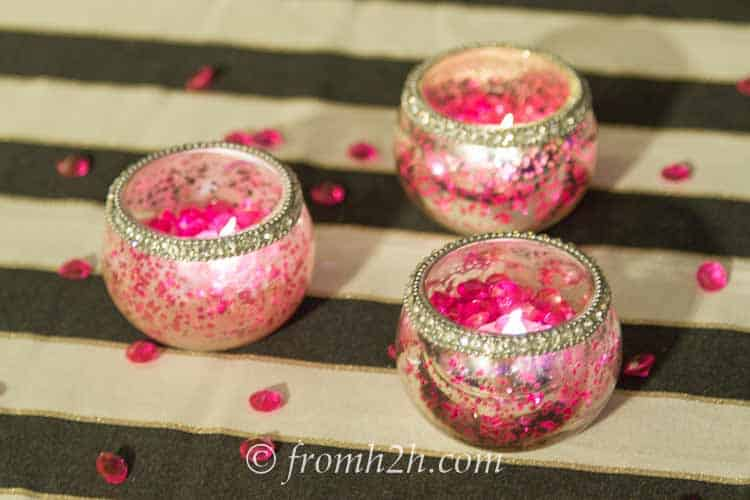 Pink acrylic crystals and candles   How to create a romantic Valentine's Day table setting