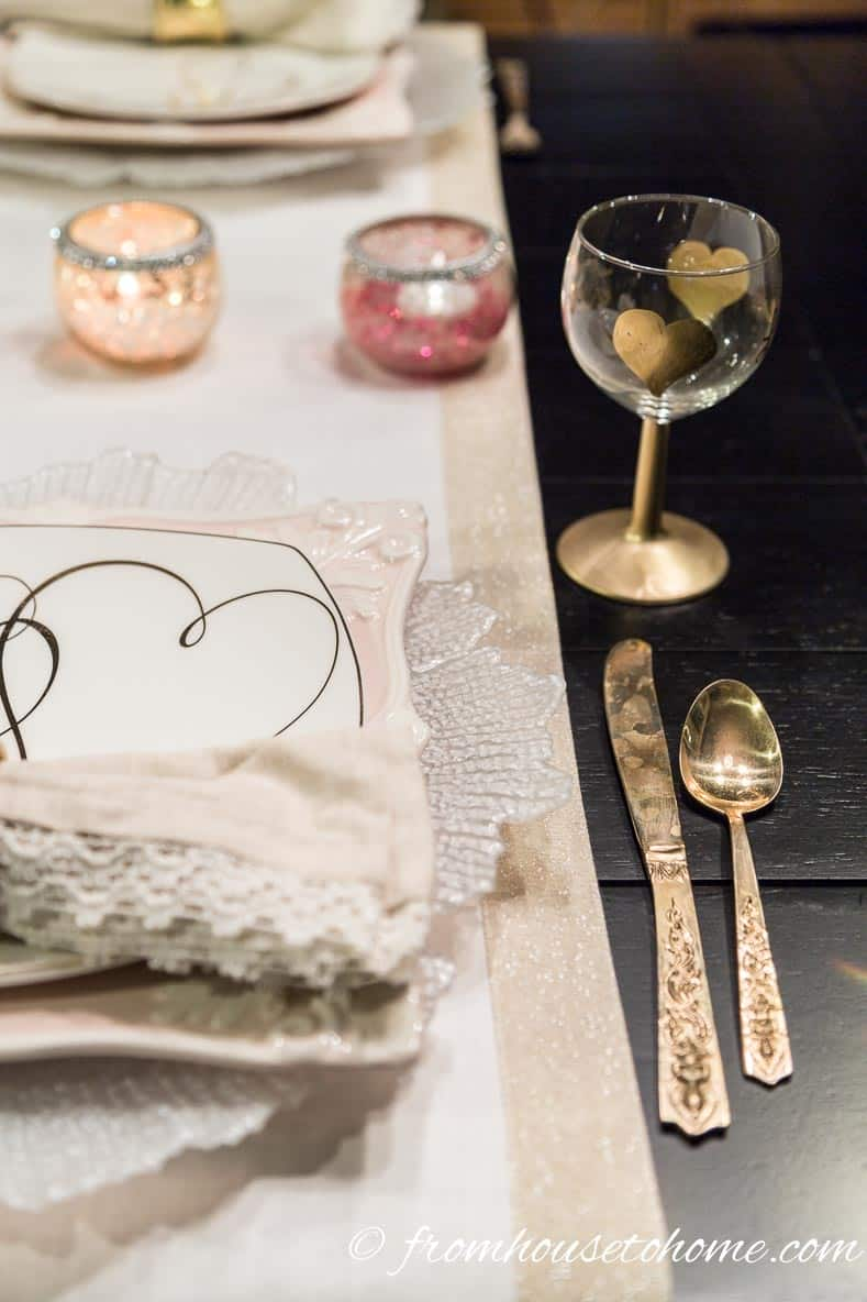 A gold edged runner instead of a place mat   How to create a romantic Valentine's Day table setting