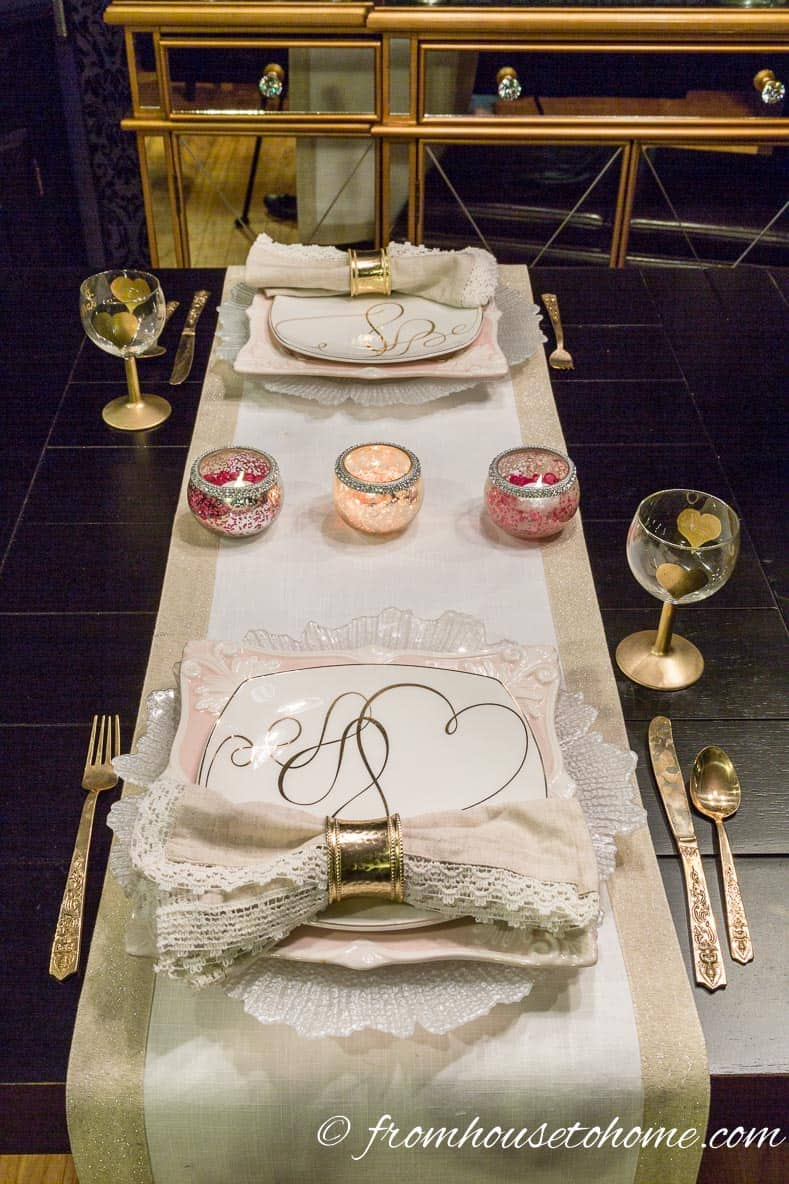 Use a table runner across the table instead of place mats   How to create a romantic Valentine's Day table setting