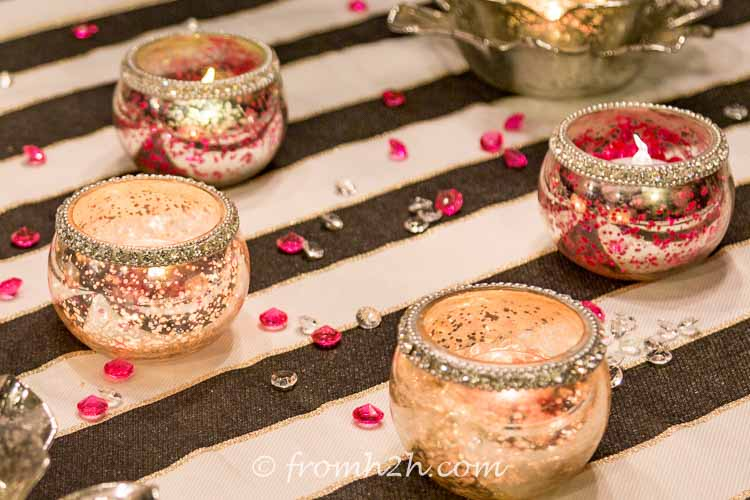 Sprinkle crystals on the table for added color