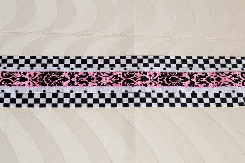 Layer 3 different widths of ribbon on top of each other