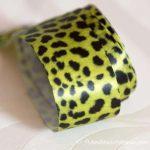 Green and black leopard print ribbon