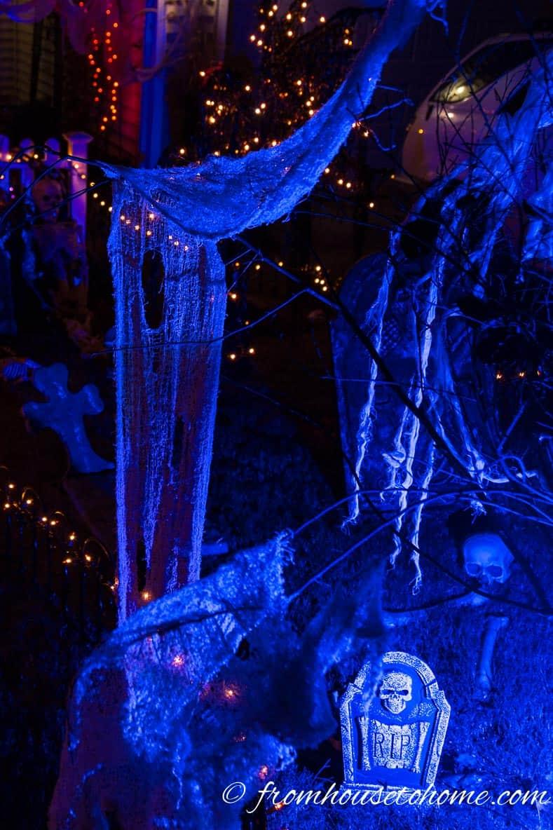 Creepy cloth illuminated with blue light looks spooky for Halloween