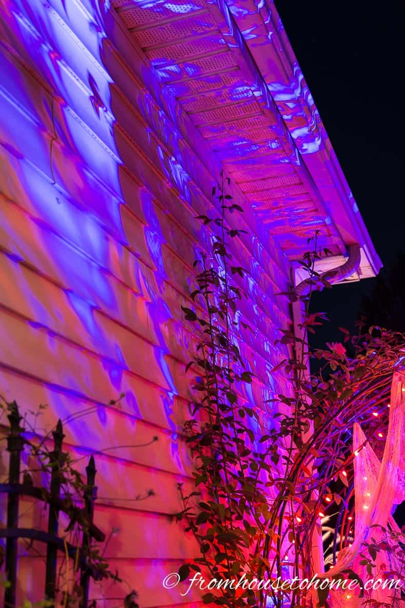 Fire and ice Halloween outdoor light projected through plants