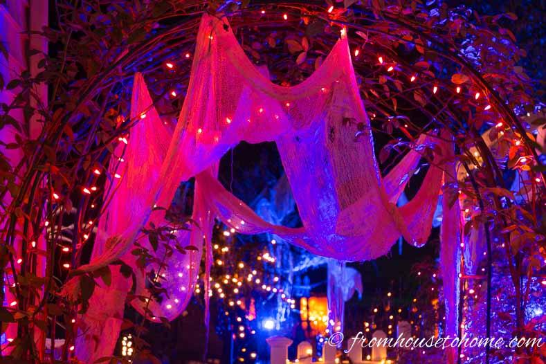 Halloween kaleidoscope spot light with white creepy cloth