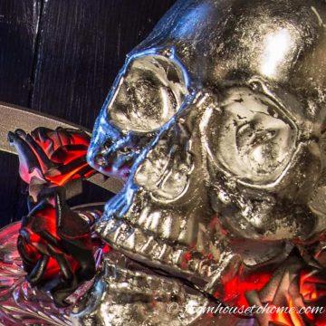 The finished metallic skull