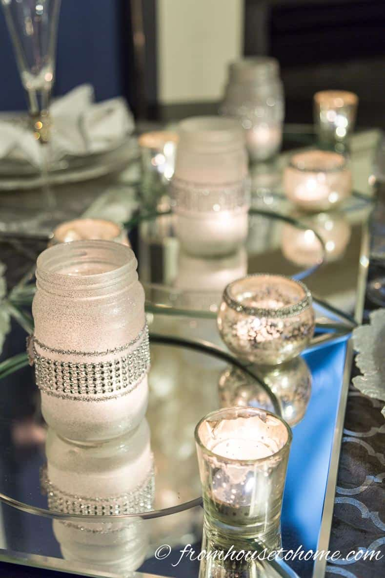 Frosted glass candle holders on the table