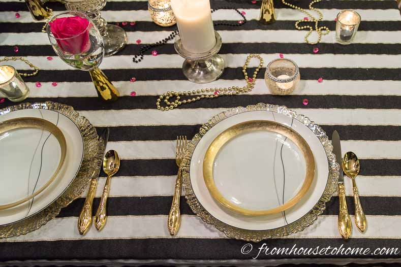 Gold-rimmed glass plates and cutlery | Kate Spade Inspired Table Setting
