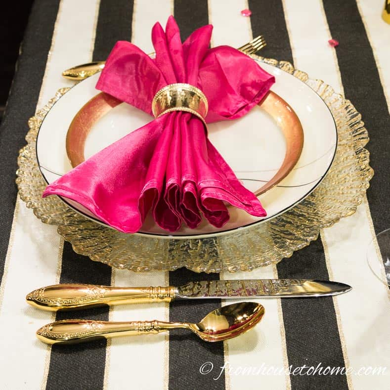 Black and white, pink and gold table setting | Kate Spade Inspired Table Setting
