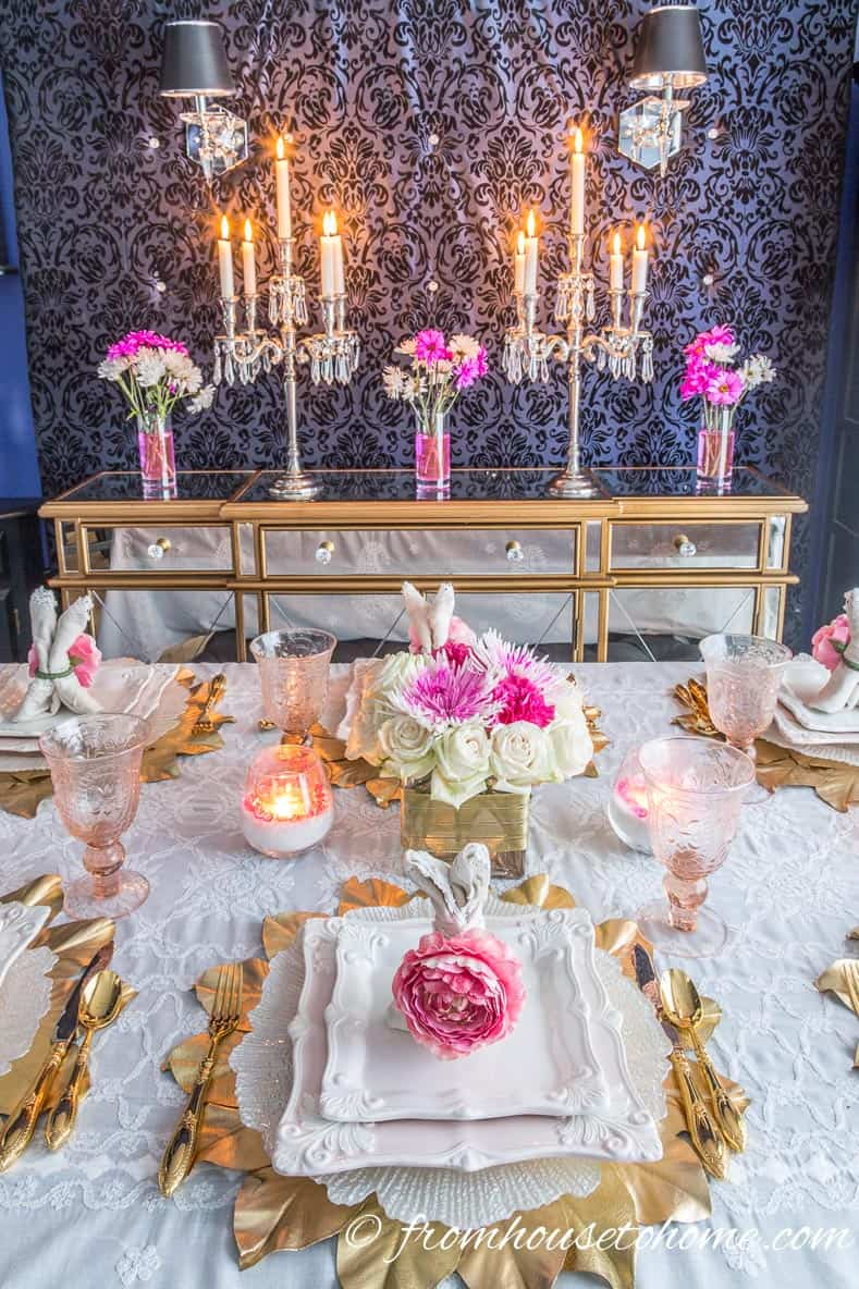 The pink and white Easter tablescape