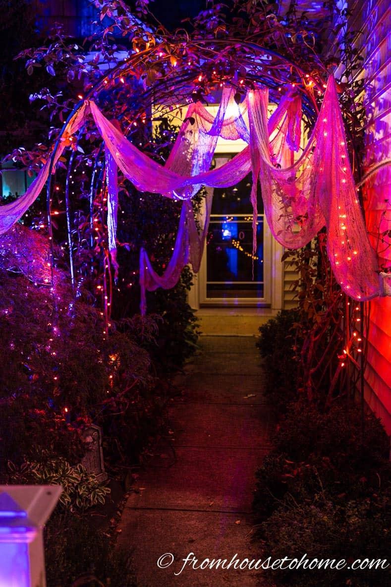 Orange and purple Halloween lights with creepy cloth over an arbor