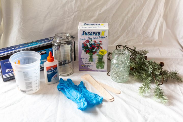 DIY winter wonderland decor - faux ice candle holder supplies