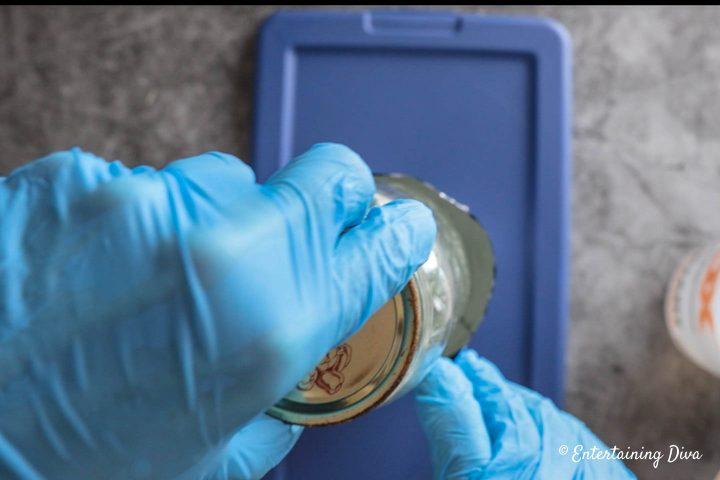 Mason jar inside of the foil mold