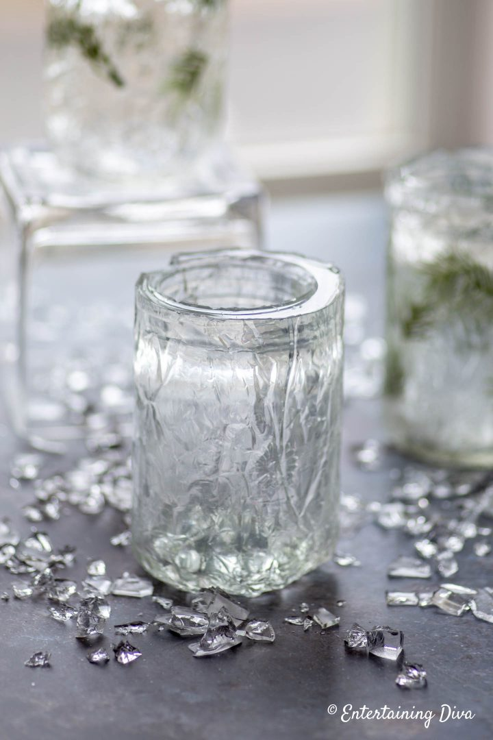 DIY faux ice candle holders without evergreens