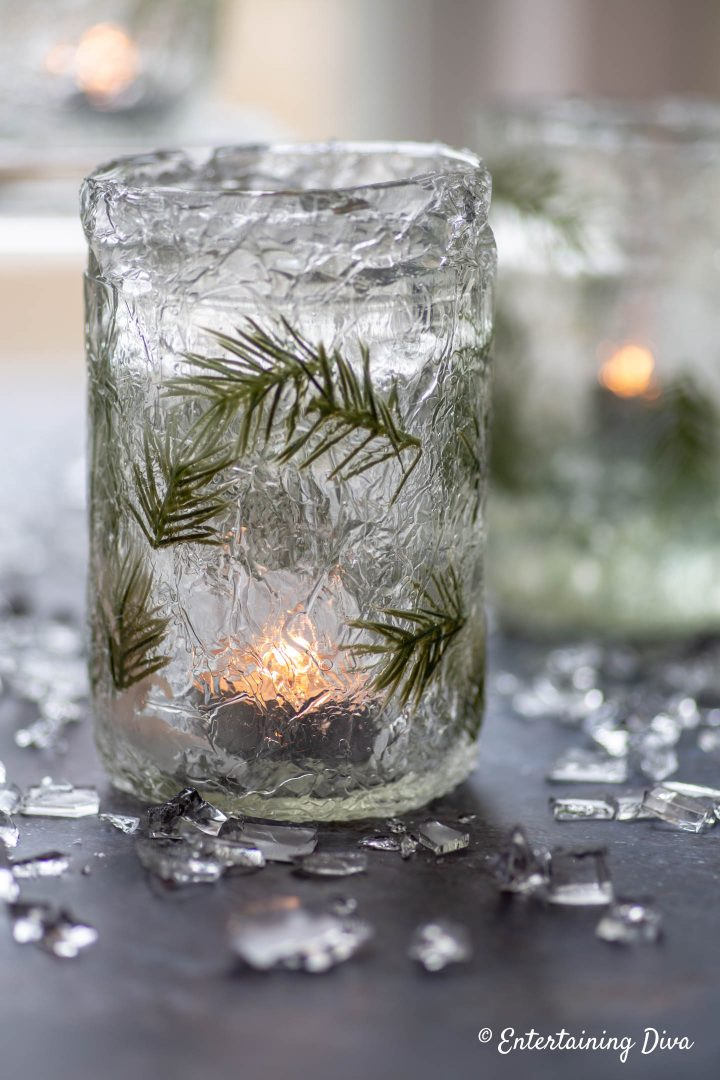 DIY Faux ice candle holder with lit candle