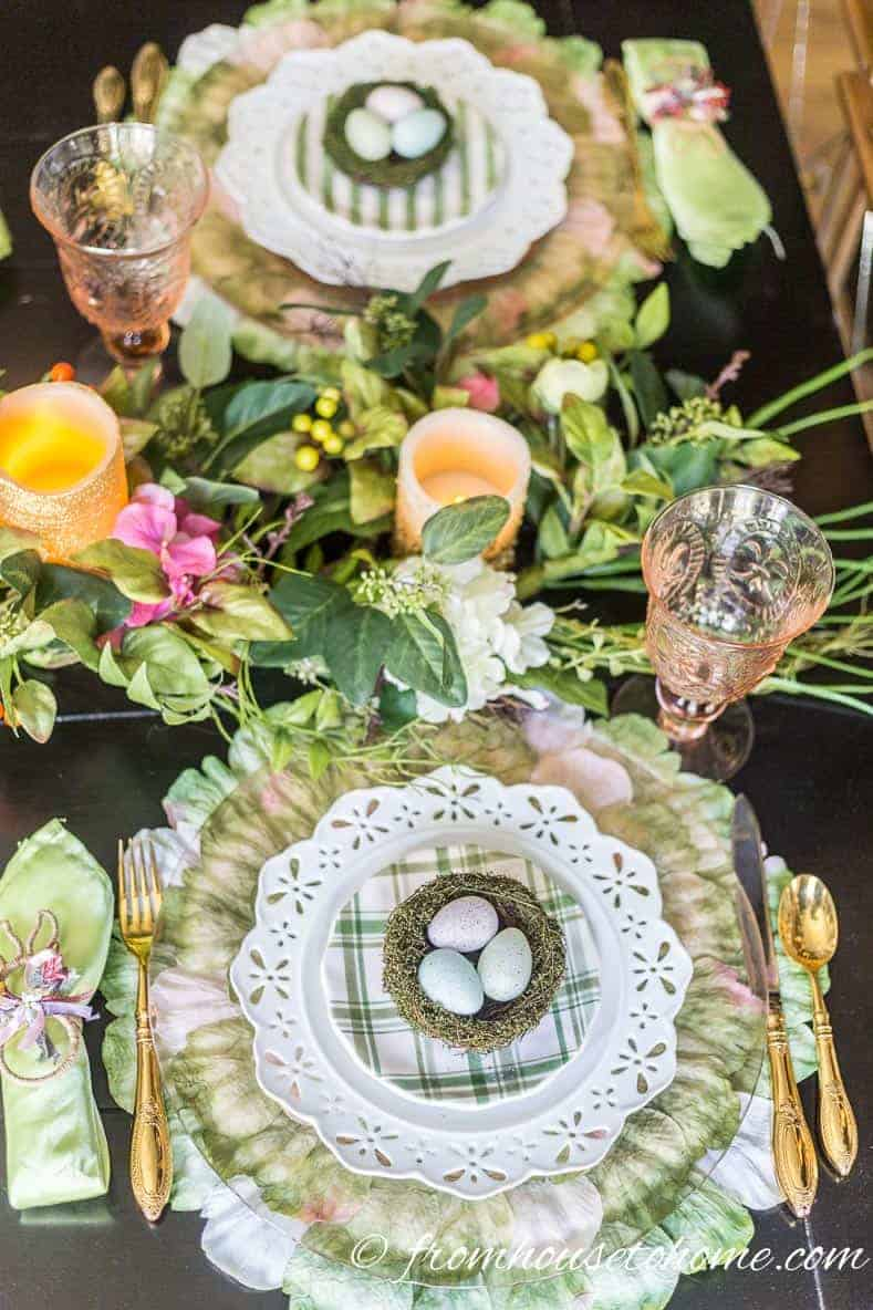 Pink and green Easter table setting