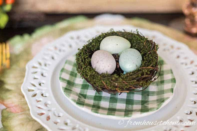 Nest with eggs for Easter table decorations