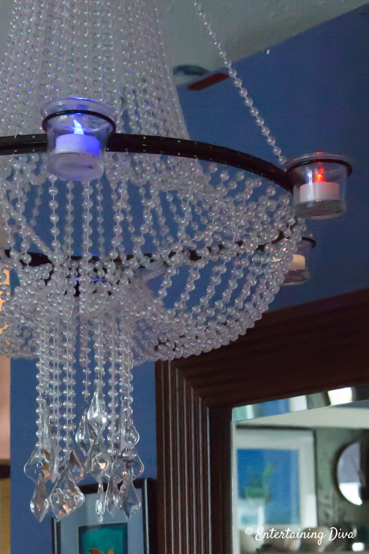 Red, white and blue flameless tealights in a candle chandelier
