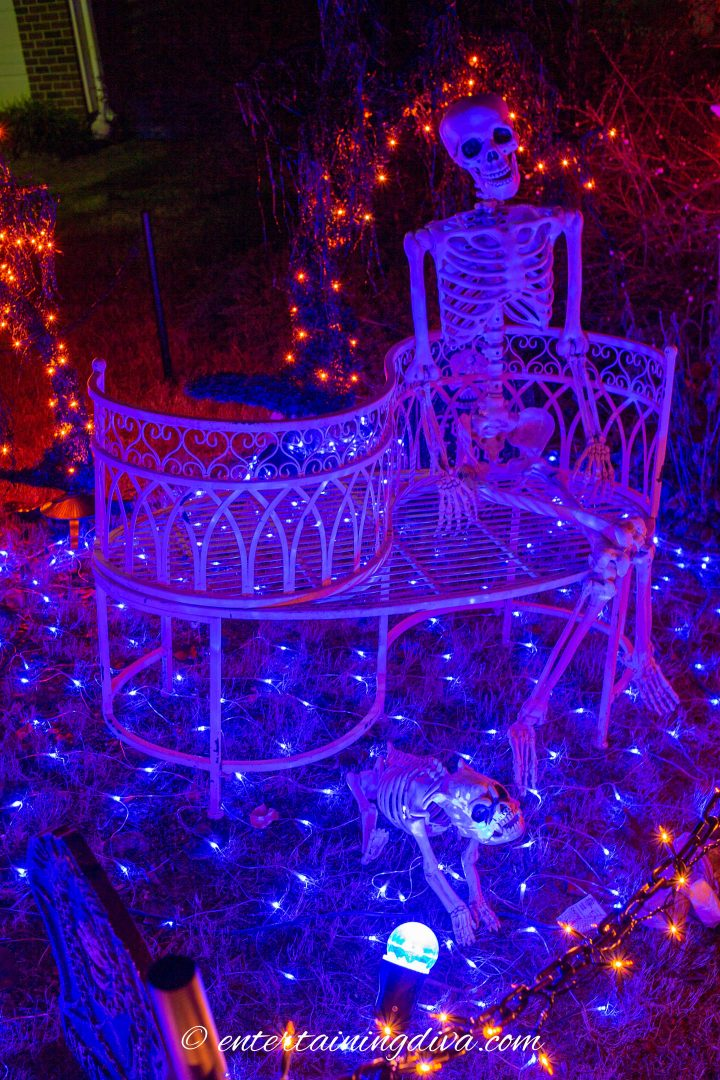 Skeleton on an outdoor bench lit with blue lights.