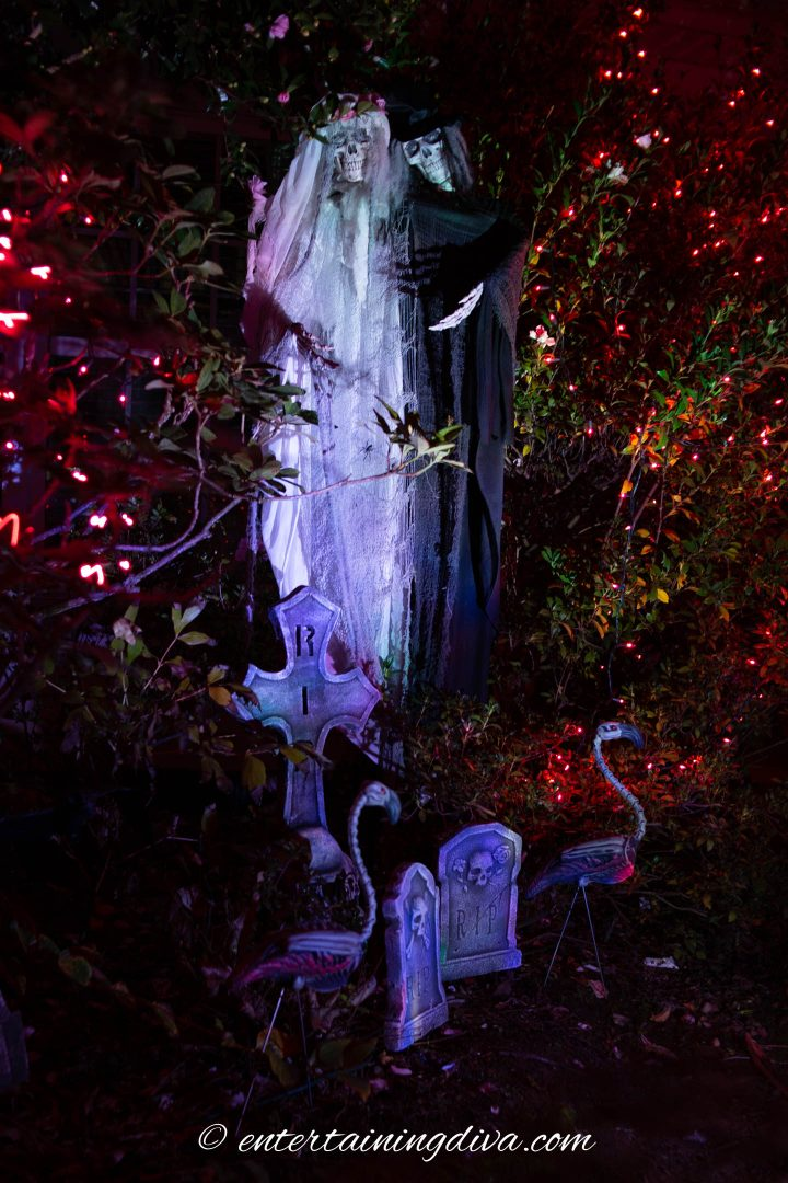 Halloween ghosts lit up at night