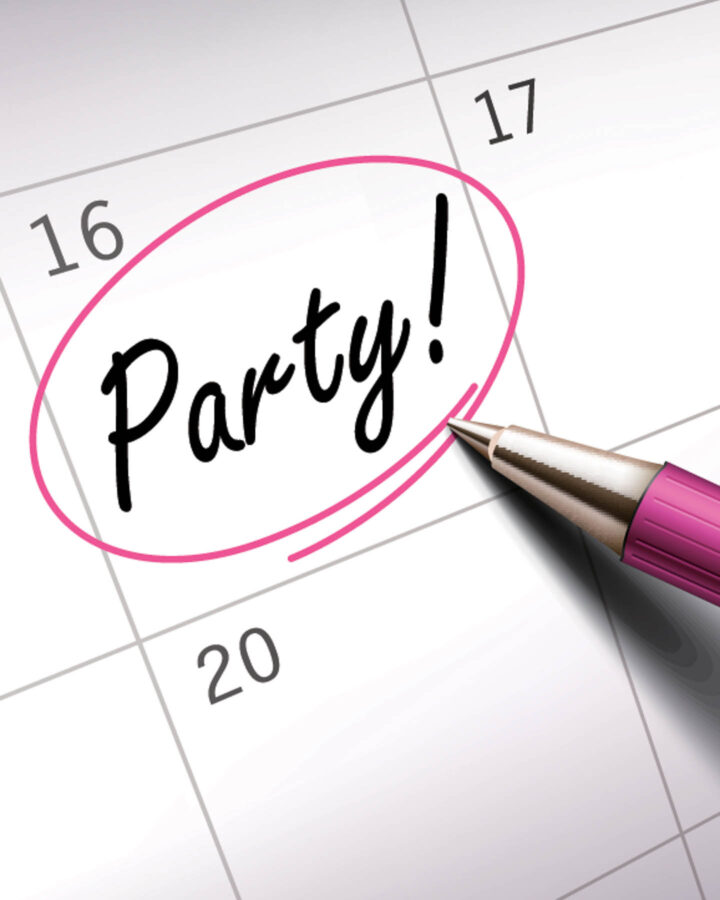 The word party circled on a calendar date